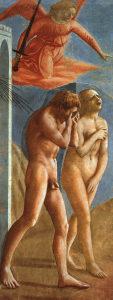楽園から追い出されるアダムとエバ