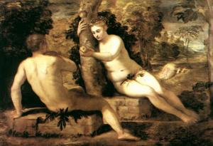 禁断の木の実を取って食べるアダムとエバ