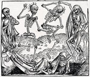 「メメント・モリ」をテーマにしたミヒャエル・ヴォルゲムートの版画『死の舞踏』(1493年)