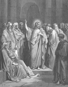 シナゴーグで教えを述べるイエス(ドレの版画)