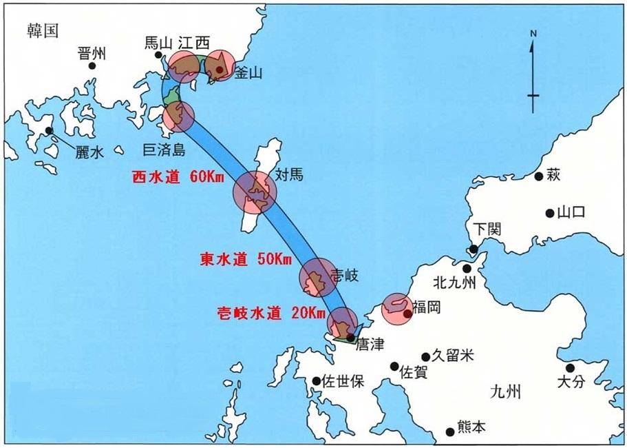 日韓トンネル建設ルート