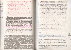 The Five Gosplesの中身。イエスの言葉が赤、桃色、灰色、黒の4つに色分けして表示されている。