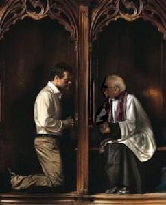 信徒の罪の告白を聞くカトリックの神父